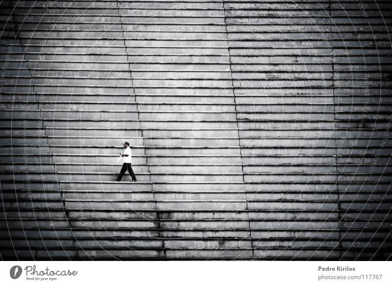 home alone Brazil Black & white photo pedrokirilos bw black stairs stage man Single walk walking juizdefora football tupi blue