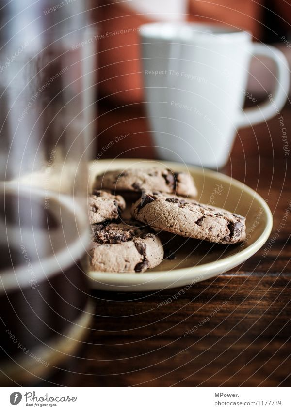 cookie & coffee Food Nutrition Eating To have a coffee Beverage Hot drink Strong Sweet Coffee Cookie Cup Chocolate Chocolate brown Beautiful Unhealthy Break