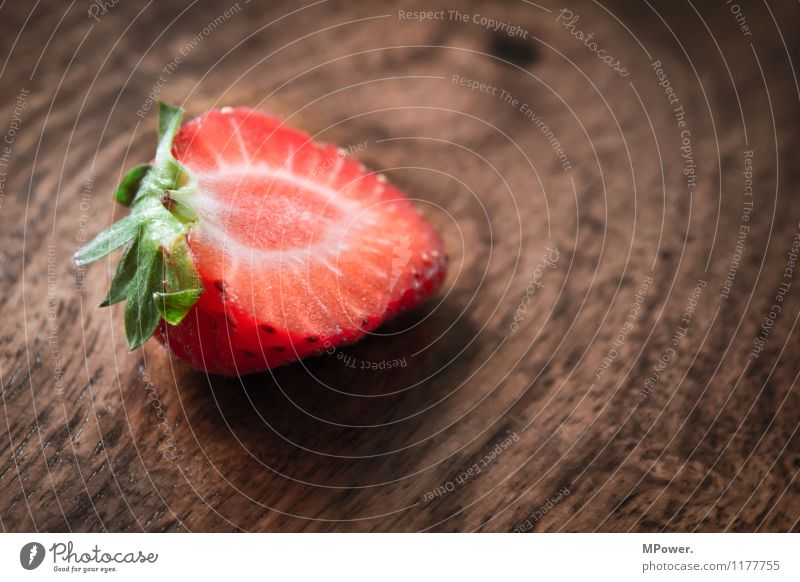 strawberry Food Nutrition Eating Breakfast Organic produce Vegetarian diet Diet Fasting Finger food Sweet Fruity Strawberry Wooden table Red Division Close-up