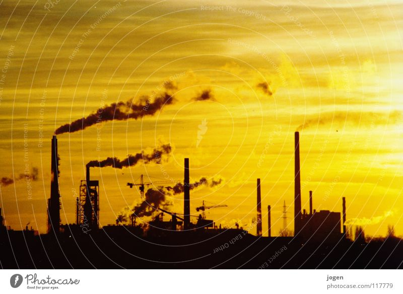 yellow Duisburg Chemical factory Factory Environment Environmental pollution Carbon dioxide Greenhouse gas Yellow Black Back-light Sunset Steam Crane