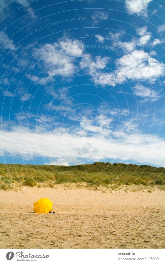 Sky Sun Ocean Blue Summer Beach Vacation & Travel Clouds Yellow Grass Sand Umbrella Beach dune North Sea Sylt Weather protection