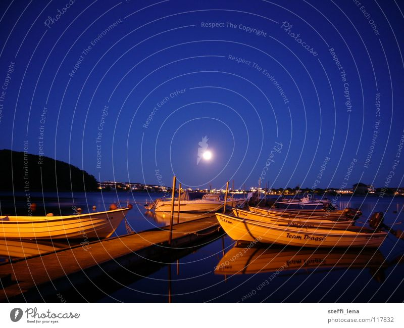 Karlskrona Harbour Watercraft Ocean Footbridge Town Summer Moon Sweden Skerry