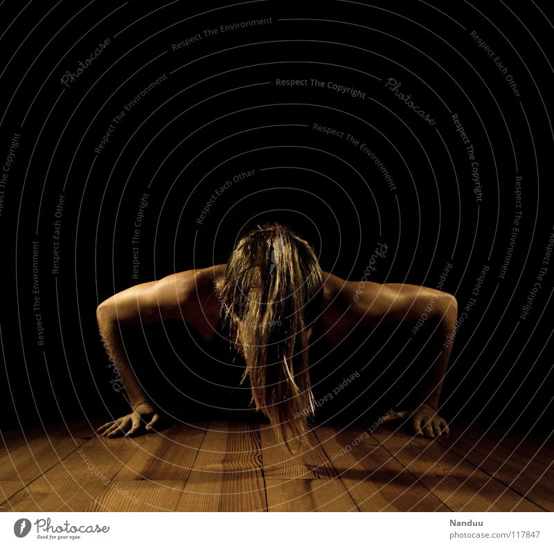 Woman Sports Dark Playing Power Healthy Arm Force Fitness Desire Sports Training Wooden board Effort Musculature Parquet floor Martial arts