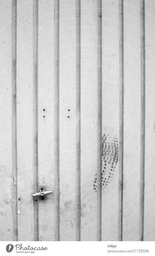 and it's stuck. Living or residing Garage door Factory Gate Door Metal door Door handle Footprint Line Stripe Old Dirty Anger Emotions Aggravation Frustration