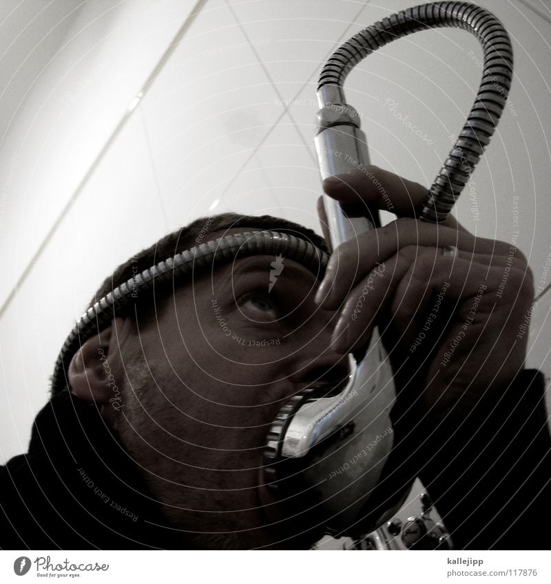 mouth shower Pharaohs Drinking Drinking water Petrol pump Burn Erase Crazy Respirator mask Oxygen Water Bathroom Absurdity Shower head Man Diver Submarine
