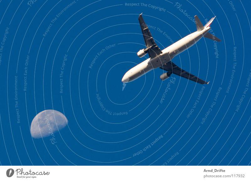 Sky Blue Air Airplane Aviation Moon Beautiful weather