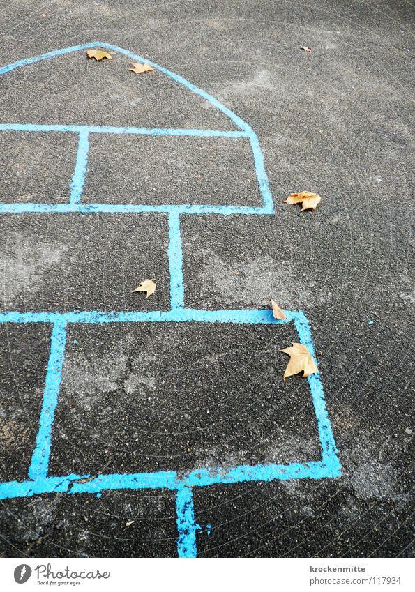 Blue Loneliness Joy Leaf Autumn Playing Infancy Asphalt Hop Hell Schoolyard