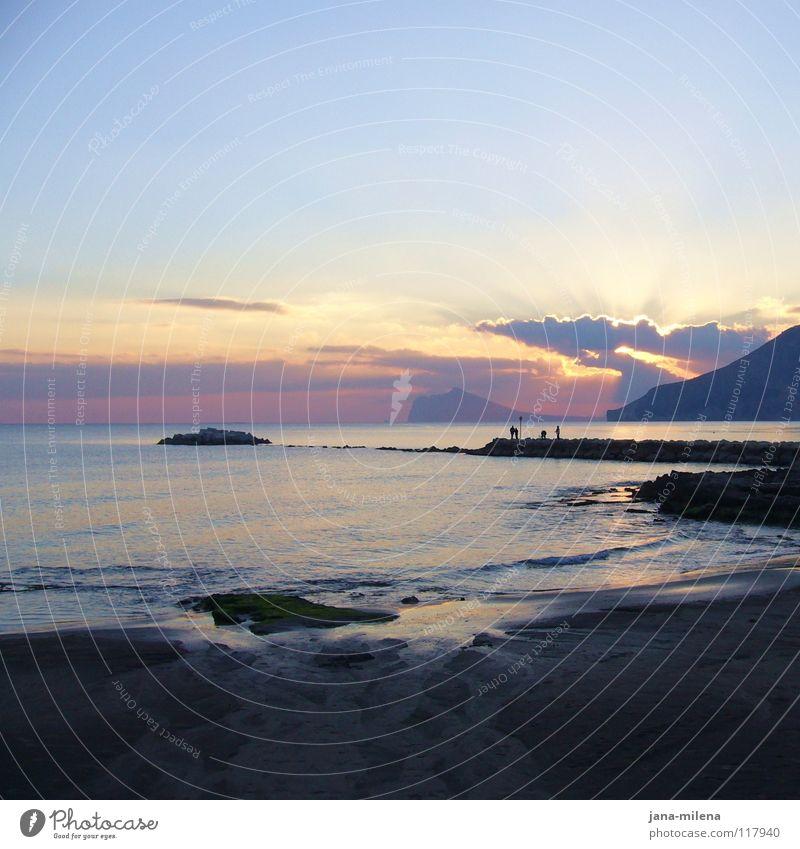 Sky Sun Ocean Blue Clouds Dream Sadness Sand Bright Moody Lighting Waves Coast Transience Longing Bay