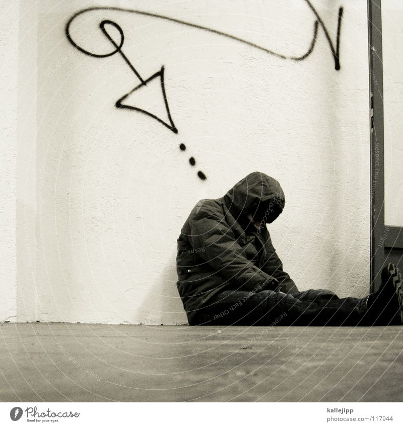 Human being Man Life Sadness Graffiti Poverty Sit Sleep Corner End Arrow Fatigue Direction Distress Society Downward