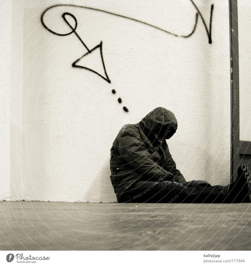 Human being Man Life Sadness Graffiti Poverty Sit Sleep Corner End Arrow Fatigue Direction Distress Society Downward