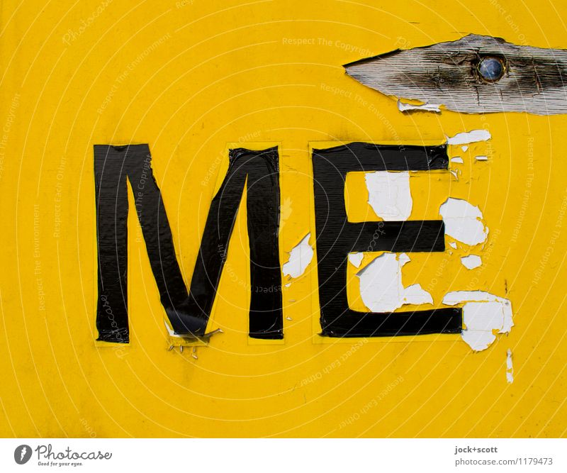 ME on yellow background Typography Illustration Packing film Label Plastic Signs and labeling Word Authentic Simple Broken Retro Yellow Decline Transience