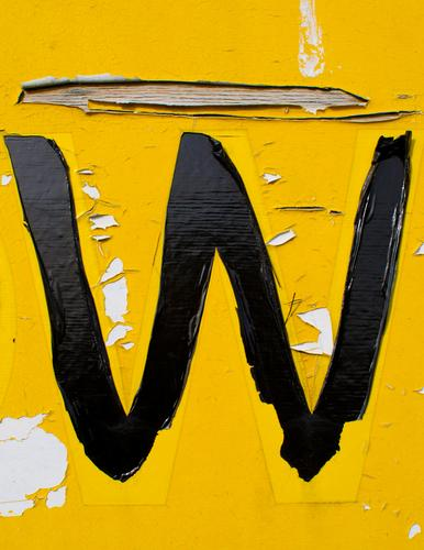 the yellow W Typography Illustration Packing film Plastic Characters Signs and labeling Capital letter Authentic Simple Broken Retro Yellow Decline Transience