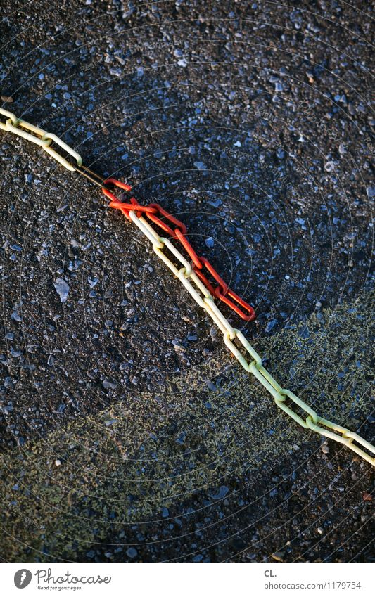 chain Chain Barrier Ground Broken Yellow Gray Red Lanes & trails Breach Colour photo Exterior shot Deserted Day