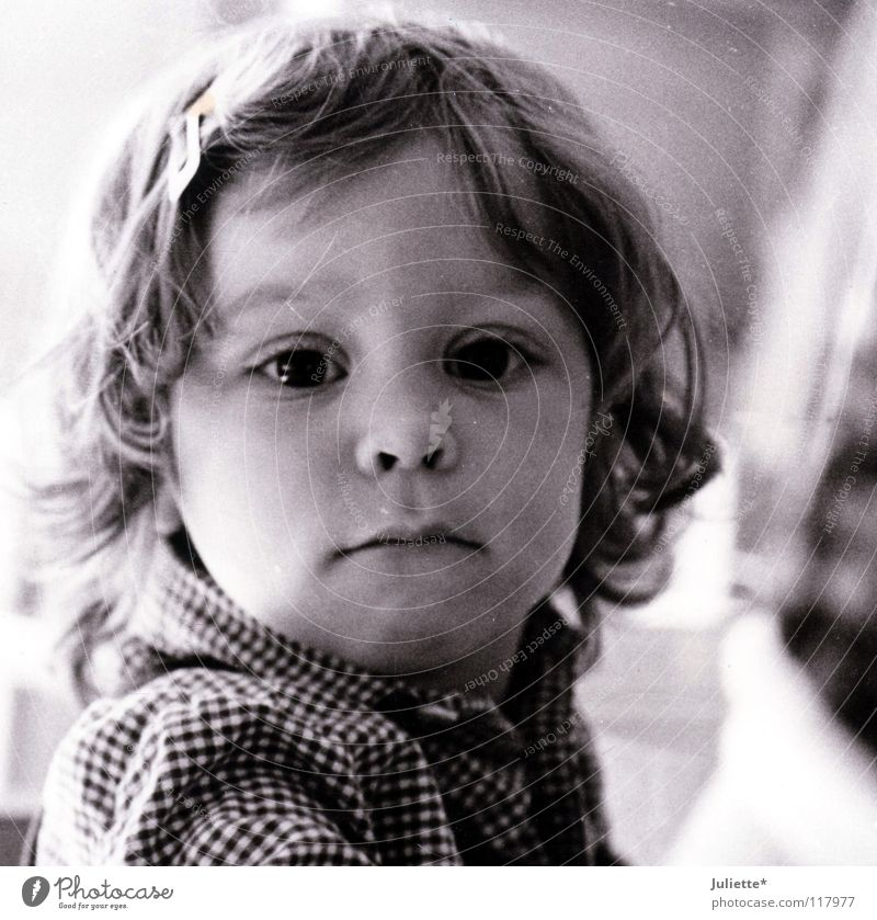 Child Girl Beautiful White Black Eyes Loneliness Mouth Nose Lips Curiosity Shirt Toddler Checkered Sensitive Alert