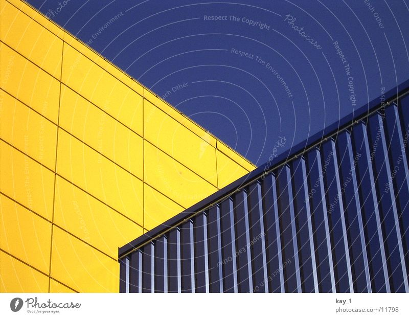 Blue Yellow Line Architecture Diagonal Shopping center Furniture store