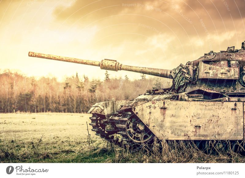 Tank on a filed Nature Old Green Tree Landscape Forest Autumn Grass Transport Vantage point Retro Historic Camping War Engines Horizontal