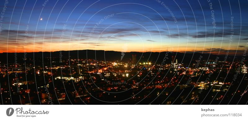 Lights of the small town Evening Twilight Night Long exposure Panorama (View) Lamp Sky Clouds Moon Small Town Dark Hope Longing Expectation Winterthur