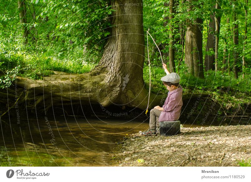 Human being Child Nature Summer Tree Loneliness Forest Spring Boy (child) Playing Infancy Authentic Cute String River Cap
