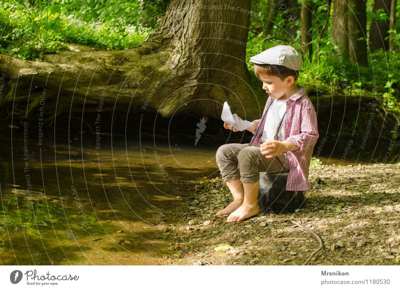 Human being Child Nature Water Tree Forest Spring Boy (child) Leisure and hobbies Infancy Beautiful weather Hat River bank Toddler Barefoot Former