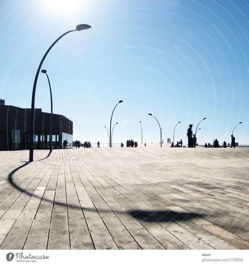 Promenade Tel Aviv Israel Wood Light Lamp Lantern Midday Modern Harbour Asia Sun Shadow shaddow