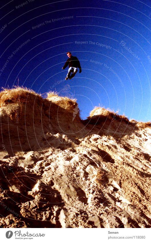 Sandbox Jump Pol-filter Beach Playing Coast Blue sky Movement