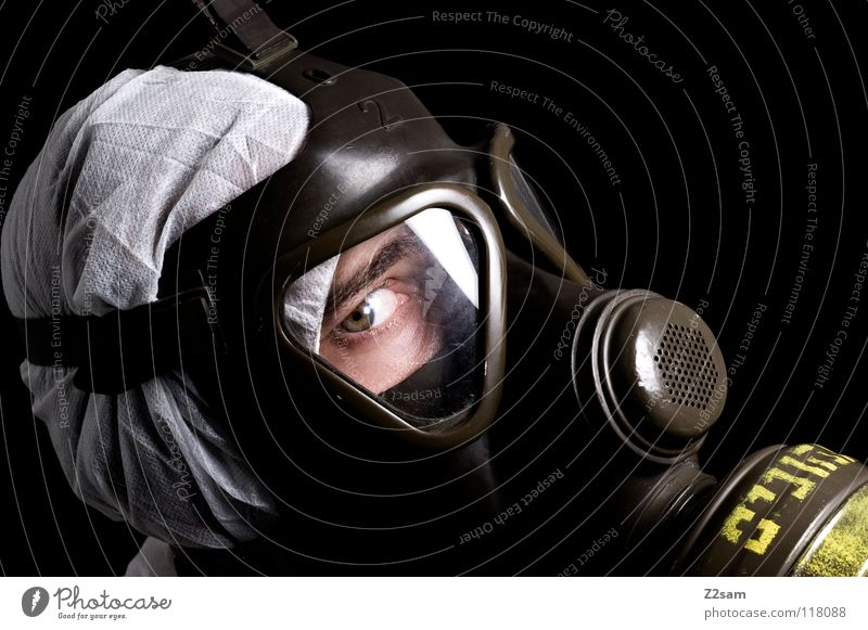 *SELF-PROTECTION* IV Poison gas Carbon dioxide Respirator mask Protective clothing Suit Sterile Safety (feeling of) Portrait photograph Environment