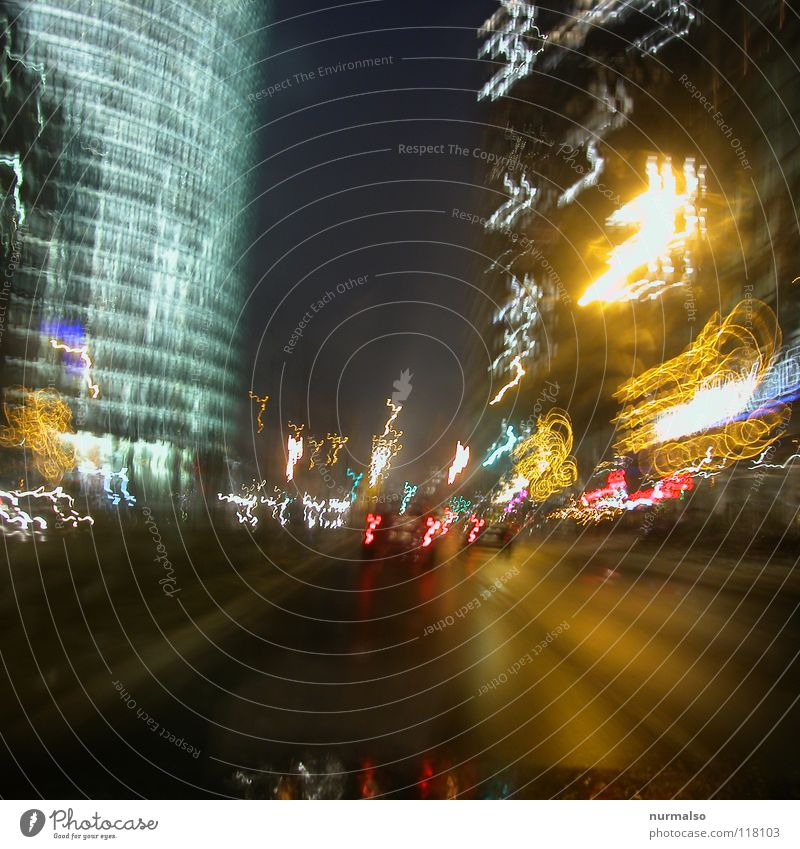 Fast direction east II Night Town Places Middle Wall (barrier) Marketplace New building High-rise Driving Drops of water Agitated Windscreen Carriage Rear light