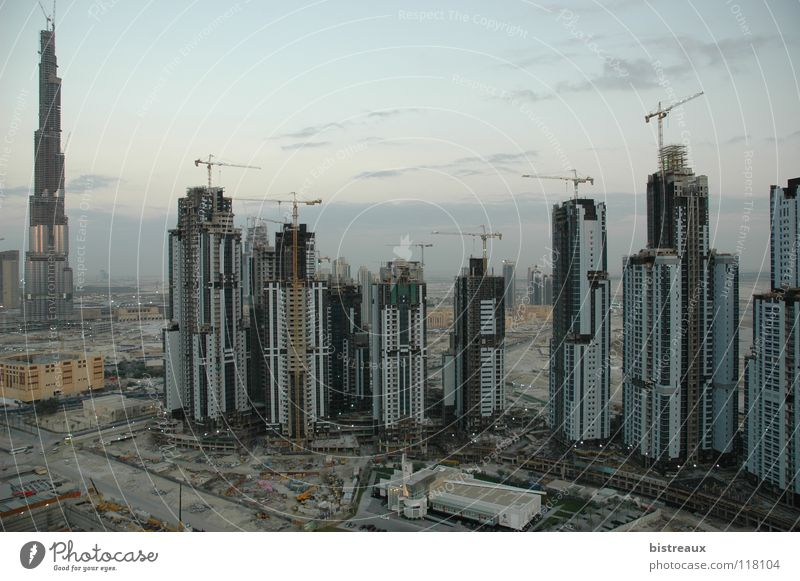 Burj Dubai 002 United Arab Emirates Construction site Crane High-rise Business Bay Sand Morning Desert Escape Tower executive towers Dubai Holding enamel