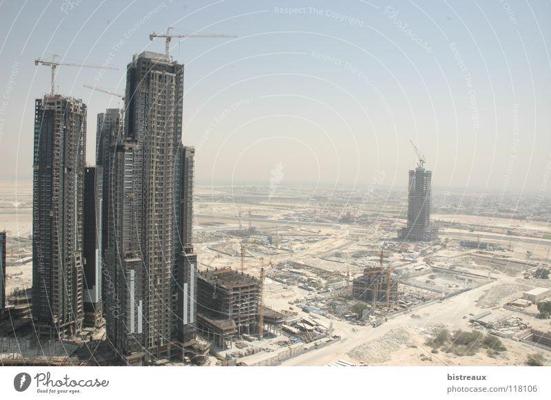 Business Bay 002 Dubai United Arab Emirates Construction site Crane High-rise Sand Morning Desert Sun Escape Tower executive towers Dubai Holding enamel