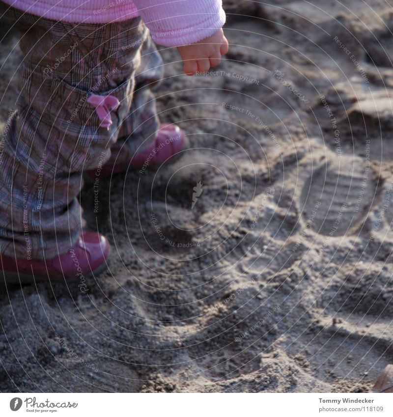 Sandpit Catwalk Toddler Child Girl Footprint Pink Violet Bow Beautiful Doll Cute Multicoloured Sweet Patent shoes Going Hand Sunlight Childlike Beach Coast