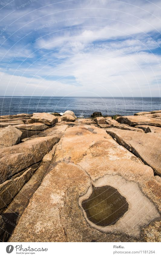 Rocky coast Vacation & Travel Trip Far-off places Freedom Summer vacation Ocean Environment Nature Landscape Elements Earth Air Water Sky Clouds Horizon