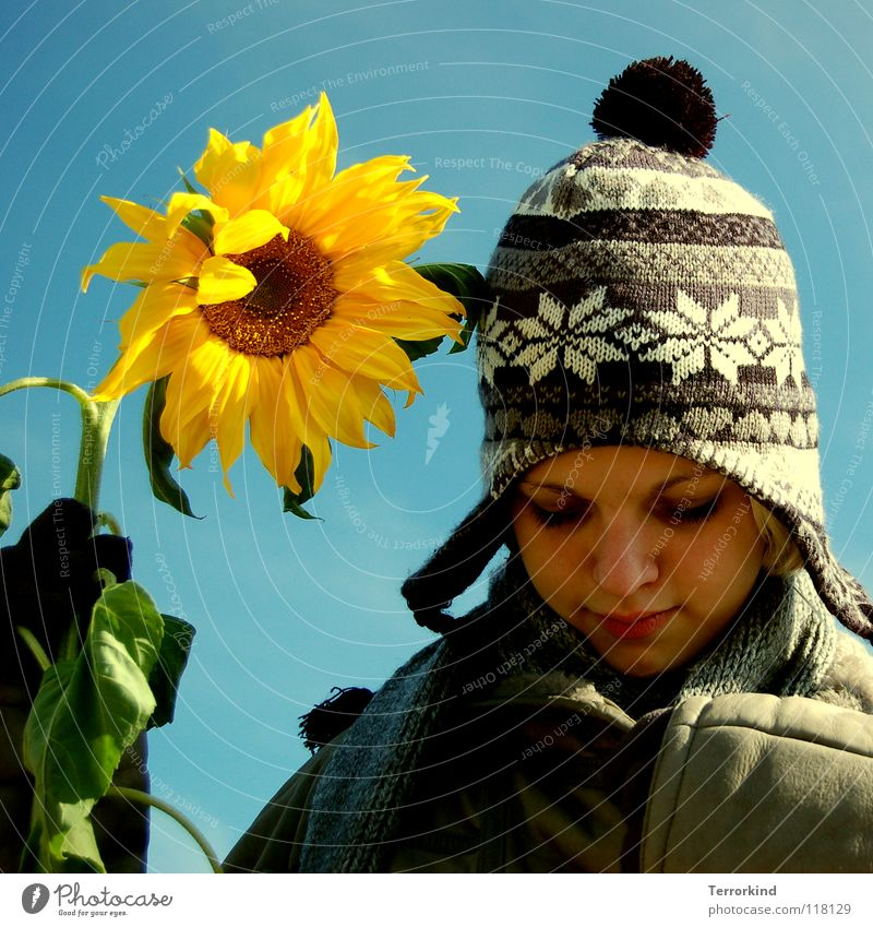 if.I.have.these.as.friends. Flower Sunflower Stalk Antagonism Summer Winter Spring Autumn Seasons Coat Gloves Cap Scarf Woman White Yellow Blonde Sulk Tuft