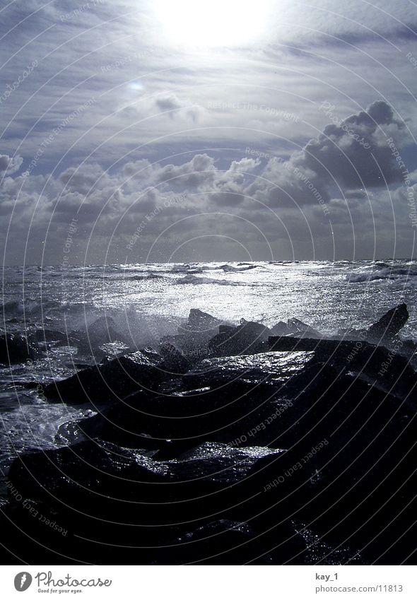 Hiddensee Ocean Surf White crest Stone Water Baltic Sea sea surge spume stones