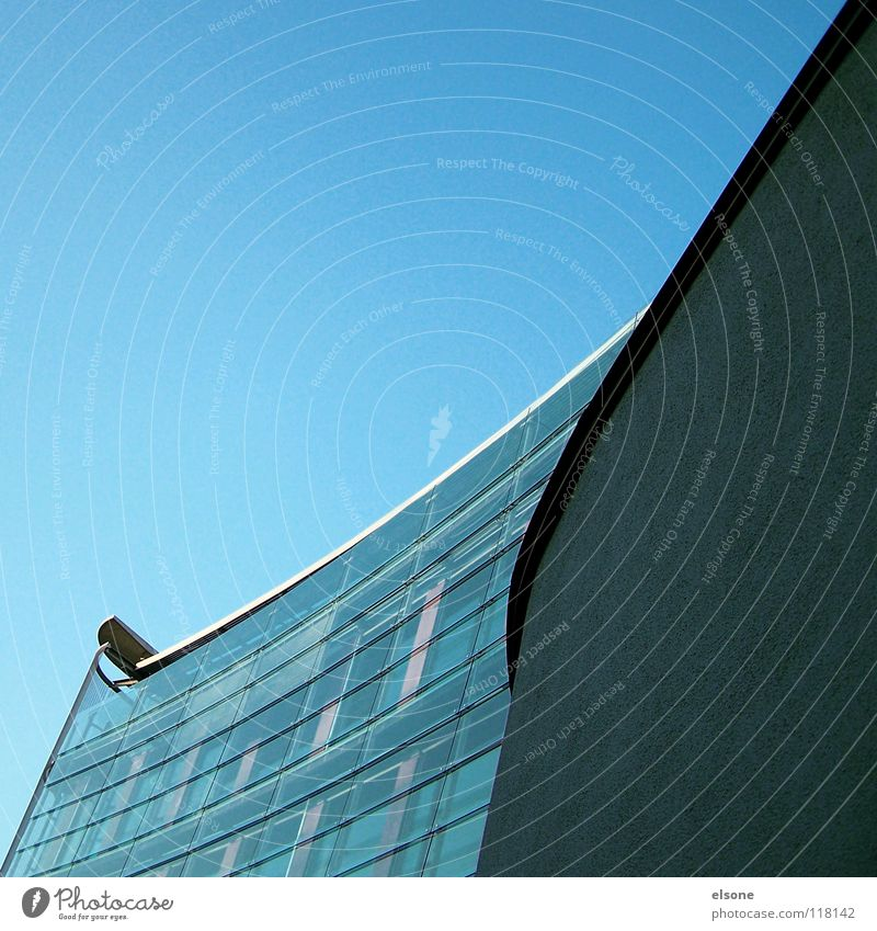 ::ARCHITECTURE:: House (Residential Structure) Building Concrete Wall (barrier) Chic Steel Swing Round Curved Cold Fresh Pure Clean Blue Baby blue Pforzheim