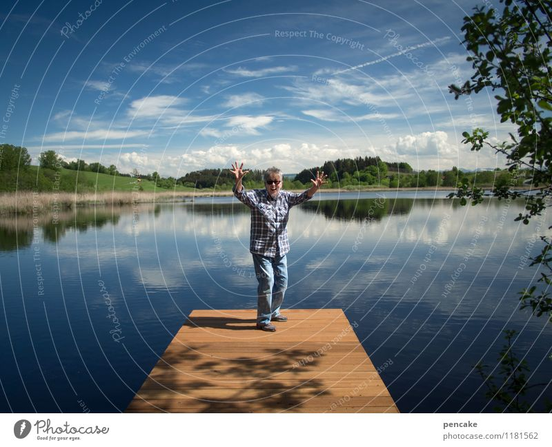 Here and Now Human being Woman Adults 1 45 - 60 years Nature Landscape Elements Water Sky Summer Beautiful weather Hill Lakeside Joy Happiness