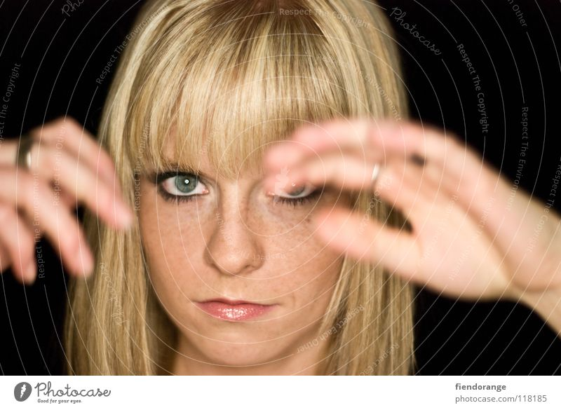 Woman Hand Black Far-off places Eyes Hair and hairstyles Blonde Mouth Nose Perspective Future Circle Protection Vantage point Make-up Bangs