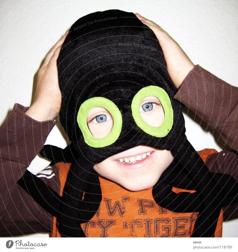 Child Hand Joy Eyes Boy (child) Playing Laughter Cap Hide Spider