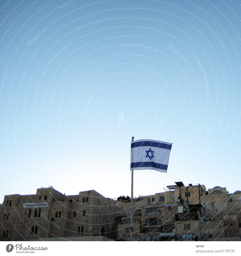 House (Residential Structure) Asia Flag Cloudless sky Landmark Monument Argument Old town Politics and state Israel West Jerusalem The Wailing wall Star of David Jewish Quarter