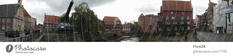 Lüneburg - Water district (Pano) Luneburg Crane Panorama (View) Historic water district smelt Harbour Old town Large Panorama (Format)
