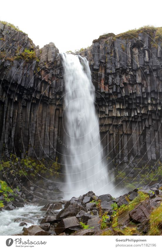 Svartifoss waterfall iceland Beautiful Water Landscape Dark Black Gray Stone Rock Esthetic Drops of water Fantastic Observe Uniqueness Touch To fall Landmark