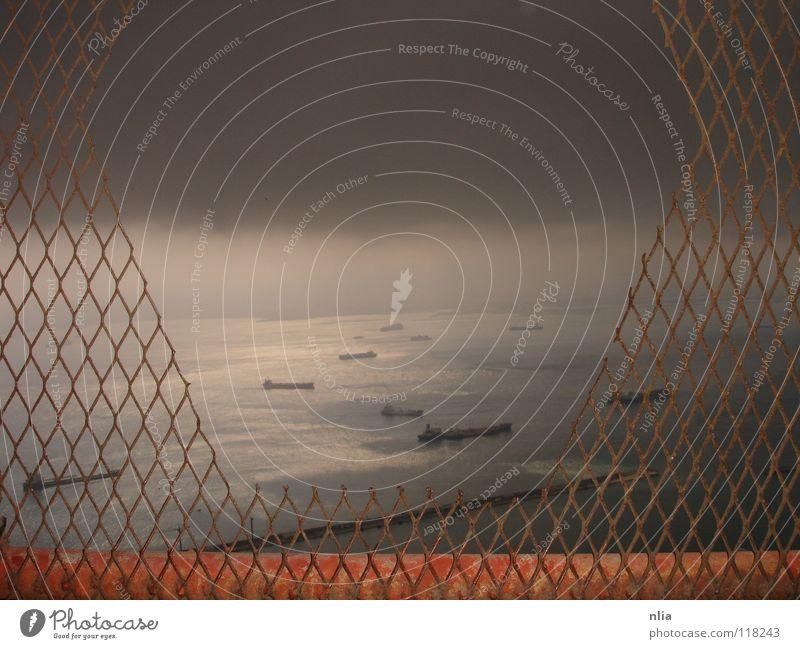 in low spirits Gibraltar Clouds Ocean Watercraft Dark Apocalypse Exterior shot Sky Thunder and lightning lack of future Sadness