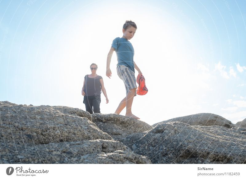 Human being Sky Child Vacation & Travel Youth (Young adults) Beautiful Summer Young woman Sun Ocean Adults Warmth Movement Boy (child) Coast Freedom