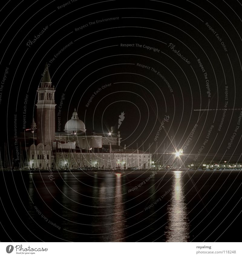 ...black Venice Evening Night Black Light Airplane Domed roof Ocean Reflection Historic House of worship Italy Cathedral Tower Water River Coast Harbour