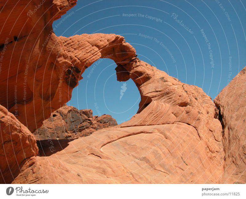 Stone Landscape Rock USA Bizarre Rock arch Arch Nevada Natural phenomenon Valley of fire State Park