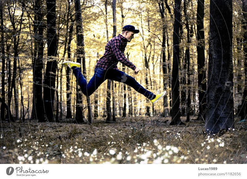 Human being Child Nature Youth (Young adults) Man Plant Tree Young man Joy 18 - 30 years Forest Adults Sports Happy Jump Masculine