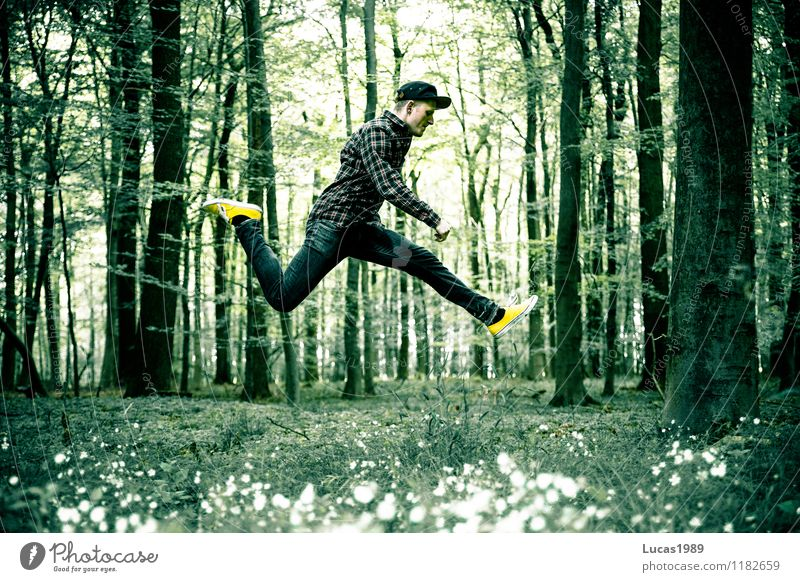 Human being Child Nature Vacation & Travel Youth (Young adults) Man Tree Flower Young man Joy 18 - 30 years Forest Adults Movement Meadow Grass