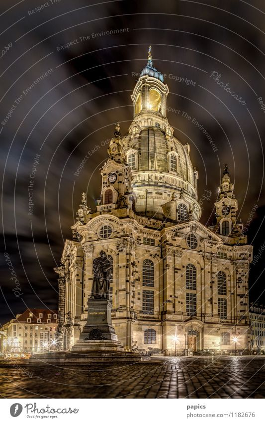 Frauenkirche of Dresden on a cold winter night Town Capital city Port City Downtown Old town Deserted Church Manmade structures Building Tourist Attraction