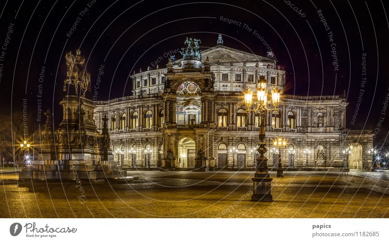 Dresden - Semper Opera at a starry night Winter Capital city Downtown Old town Building Tourist Attraction Landmark Historic Luxury Beautiful Tourism