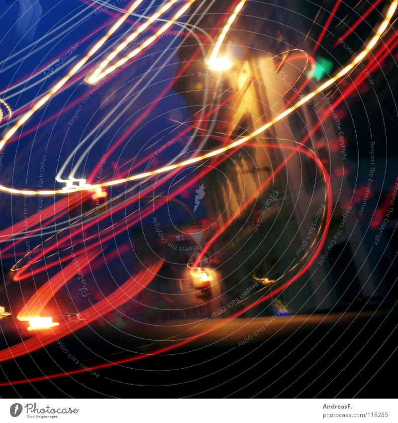 Traffic chaos Chaos Light Transport Road traffic Traffic light Turn off Green Tracer path Alcohol-fueled Motoring Intoxicant Exit route Swing Long exposure