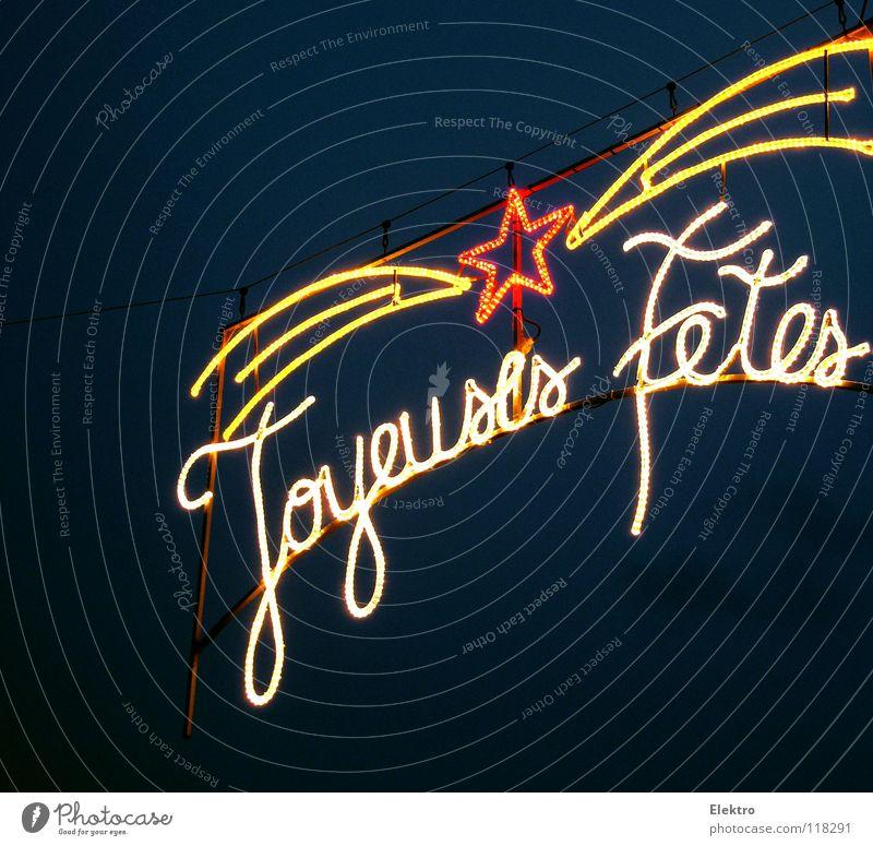 Star of the Wise - Joyeuses Fêtes France Fairy lights Lighting Event lighting Neon light Star (Symbol) Europe Letters (alphabet) Characters Dark background